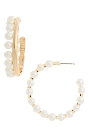 Tory Burch Pearl Fringe Hoop Earrings | Nordstrom