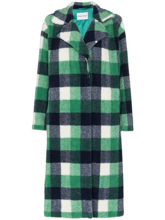 Green Stand Studio Maria Faux Fur Checked Coat | Farfetch.com