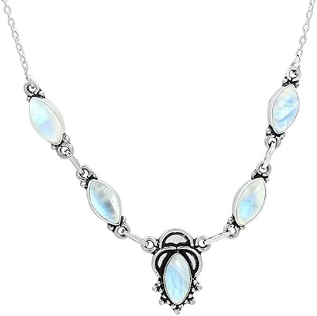 Amazon.com: Genuine Moonstone Necklace for Women Mom Wife 925 Silver Overlay Handmade Necklace Vintage Bohemian Style Jewelry: Jewelry