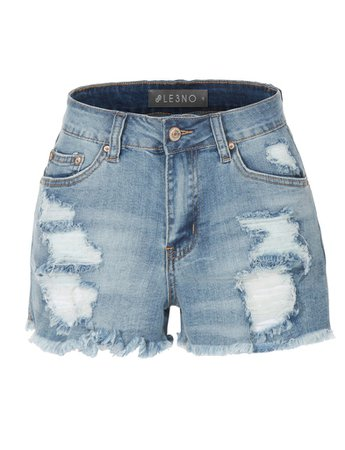 Vintage Medium Rise Distressed Destroyed Cut Off Denim shorts   LE3NO blue