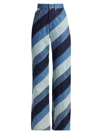 Runway Marc Jacobs Runway Stripe Patchwork Wide-Leg Jeans | SaksFifthAvenue