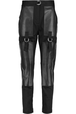 ALEXANDER WANG Cropped Leather-Paneled Cotton-Gabardine Slim-Leg Pants