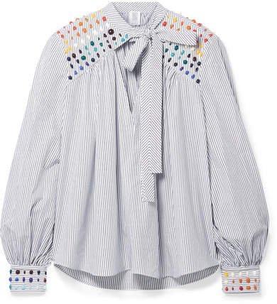 Embellished Striped Cotton-poplin Blouse - White