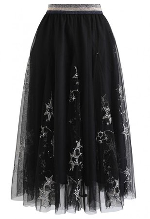 Sequined Embroidered Star Mesh Tulle Skirt in Black - NEW ARRIVALS - Retro, Indie and Unique Fashion