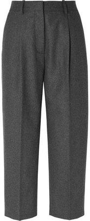 Cropped Wool-blend Straight-leg Pants - Gray