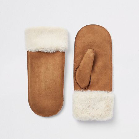 Brown faux fur lined shearling mittens - Gloves - Accessories - women