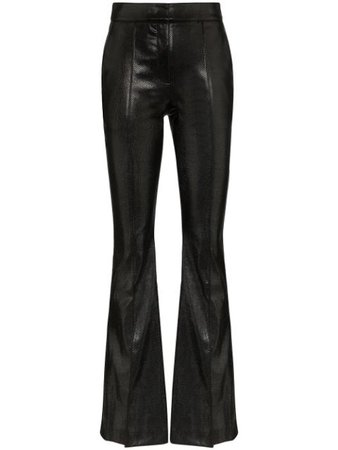 Black We11Done Python-Embossed Faux Leather Flared Trousers | Farfetch.com