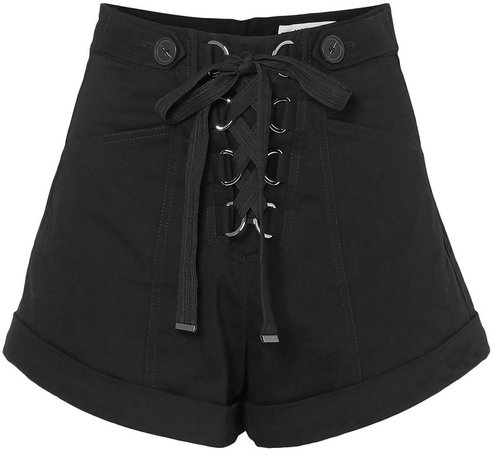 Lace-up Cotton-blend Twill Shorts