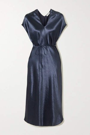 Belted Hammered-satin Midi Dress - Navy