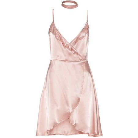 Frill Wrap Satin Dress