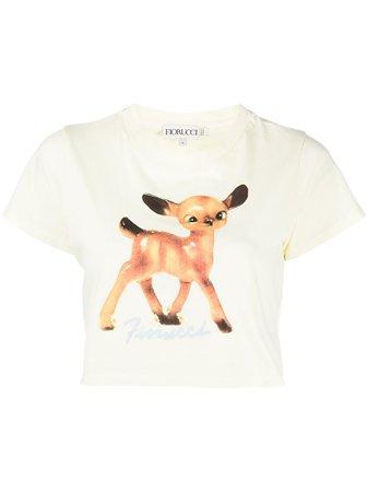 Fiorucci Deer-print Crop T-shirt - Farfetch