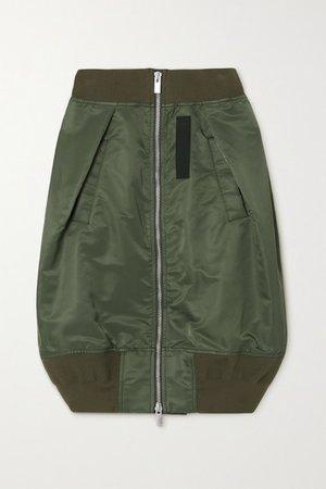 Padded Cotton-blend Shell Skirt - Dark green