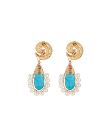 Beck Jewels   Lolita Turquoise Drop Earrings   INTERMIX®