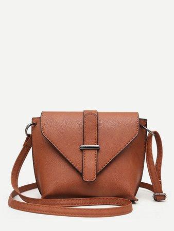 Buckle Detail Flap Shoulder Bag