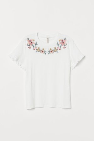 Embroidered T-shirt - White