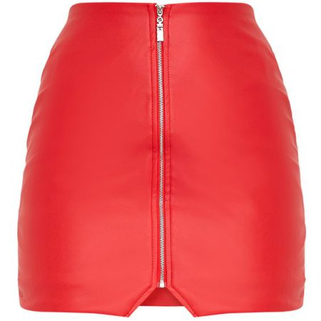 Suzy Red Faux Leather Zip Front Mini Skirt