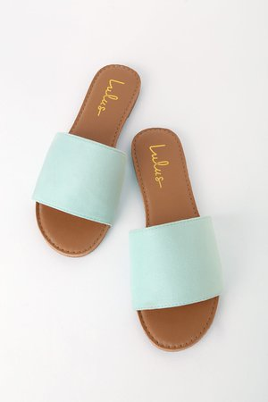 Chic Slide Sandals - Mint Suede Sandals - Vegan Sandals