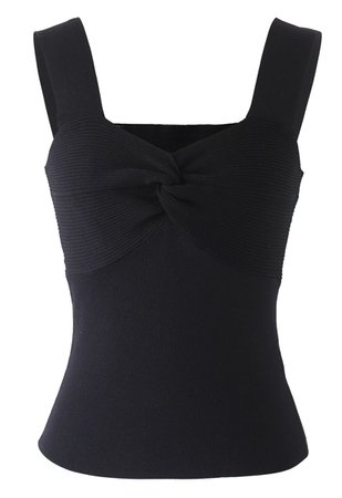 Twist Bust Ribbed Knit Cami Top in Black - Retro, Indie and Unique Fashion