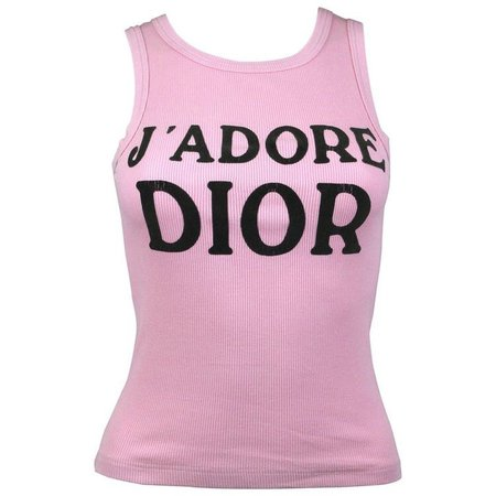 "Christian Dior - FW2001 | John Galliano for Dior pink ""J'Adore Dior"" tank top"