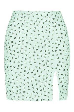 Ditsy Floral Ribbed Mini Skirt | boohoo mint