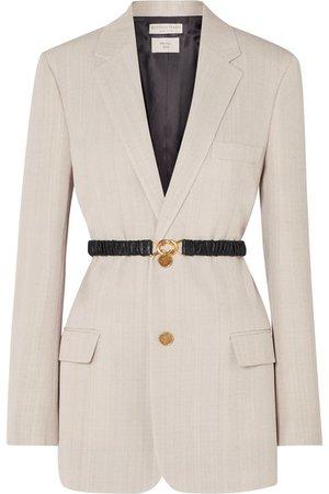 Bottega Veneta | Leather-trimmed woven blazer | NET-A-PORTER.COM