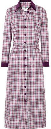 Evi Grintela - Jerry Velvet-trimmed Checked Cotton-twill Dress - Purple