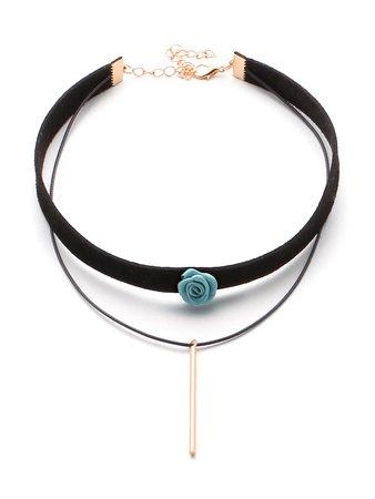 Bar And Flower Detail Layered Velvet Necklace