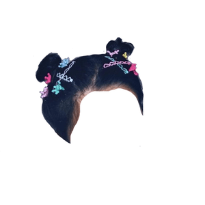 black/brown hair space buns png clips