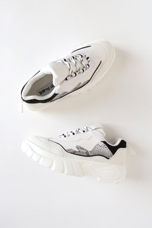 Dirty Laundry Britney - White Snake Sneakers - Chunky Sneakers
