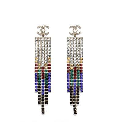 Earrings, metal & diamantés, gold, black, red, blue & crystal - CHANEL