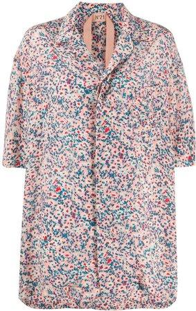 Floral-Print Open-Collar Shirt