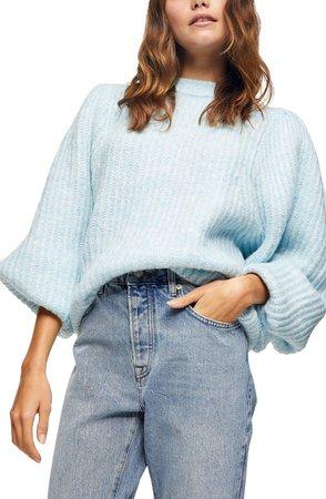 Balloon Sleeve Crewneck Sweater