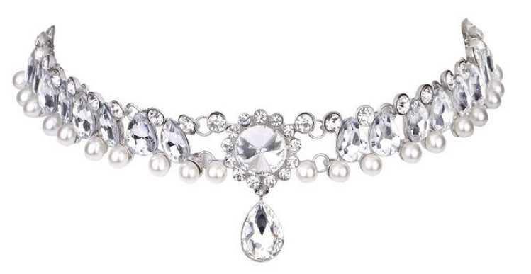 Pearl Collar Crystal Diamond Chunky Choker