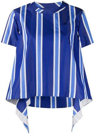 striped curved hem T-shirt
