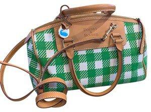 Dooney & Bourke Dooney&burke Purse Green/White/Tan Leather Cotton Blend Satchel - Tradesy
