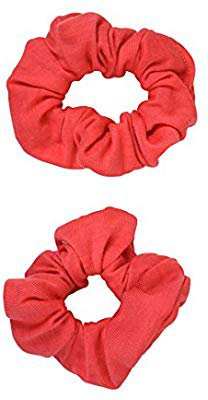 Amazon.com : Set of 2 Solid Scrunchies - Coral : Beauty