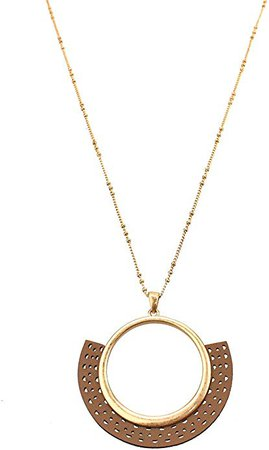 Amazon.com: Homeford Leather Filigree Fan Shaped Pendant Necklace, 30-Inch (Tan): Jewelry