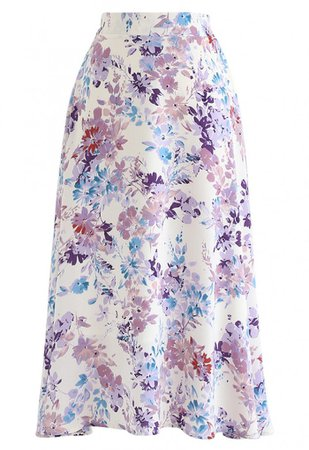 Blooming Season Watercolor Chiffon A-Line Midi Skirt in Lilac - NEW ARRIVALS - Retro, Indie and Unique Fashion