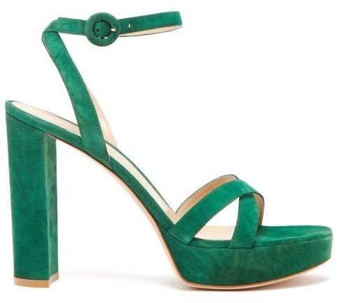 Poppy 85 Suede Platform Sandals - Womens - Dark Green