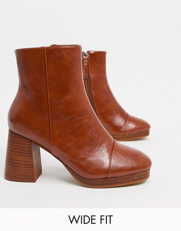 ASOS DESIGN Wide Fit Rhona platform boots in tan | ASOS