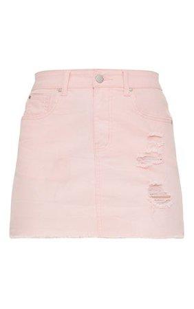 Baby Pink Distressed Denim Mini Skirt | PrettyLittleThing