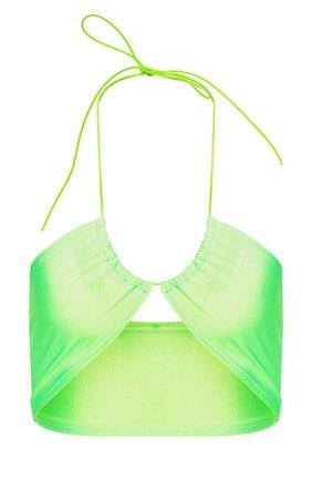 Lime Multi Tie Elastic Strap Bikini Top | PrettyLittleThing USA