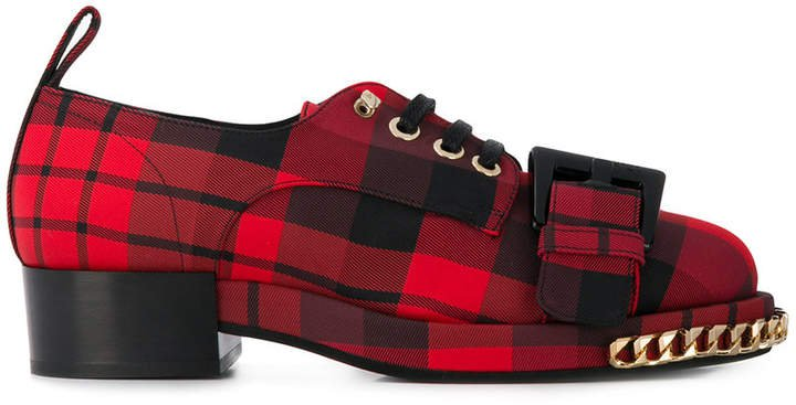 checked lace-up shoes