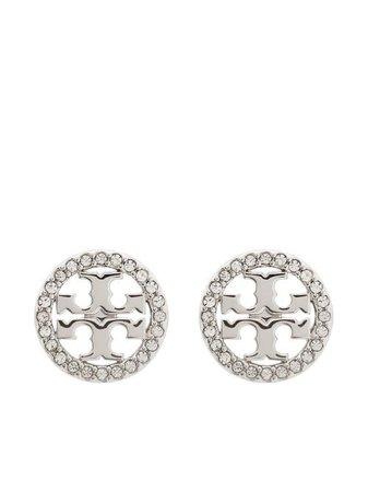 Tory Burch Miller logo-crystal Earrings - Farfetch