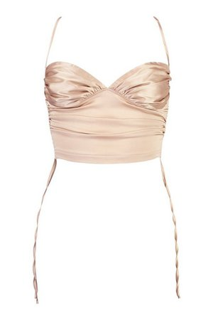 Satin Ruched Cami Top | boohoo cream