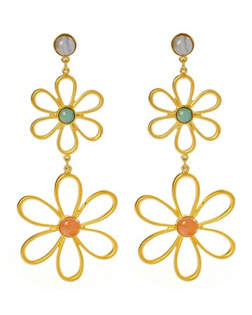 Ben-Amun Hippie Flower & Bead Drop Earrings