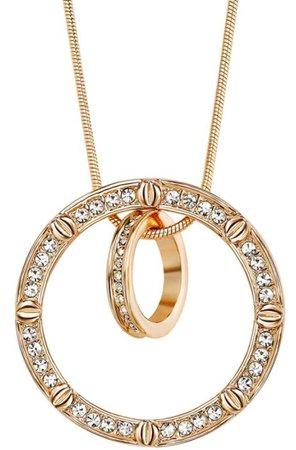 Gold Cubic Zirconia Double Circle Pendant Necklace | okajewelry.com