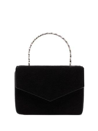 Amina Muaddi metallic top handle mini bag