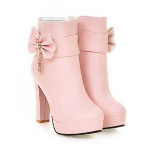 White/Pink/Black Pastel Bow High Heel Boots SP1710861 – SpreePicky
