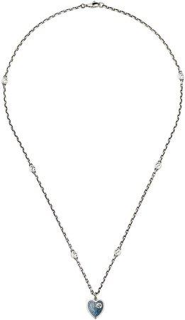 Extra Small Interlocking-G Blue Heart Pendant Necklace